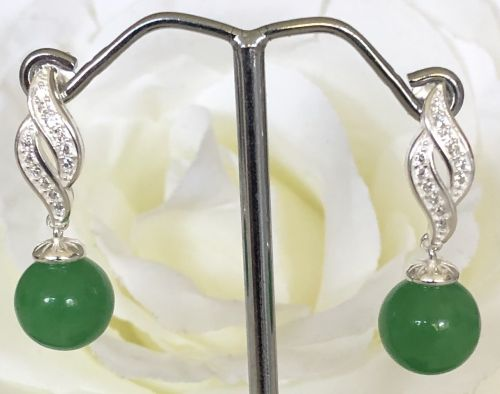 10mm Jade earrings with Sterling Silver Fittings and CZ