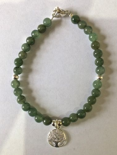 6mm Jade beads with 10mm silver tree of life bracelet