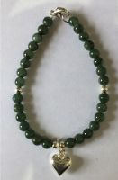 6mm jade beads with 10 mm silver heart bracelet for love