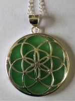 Seed of Life pendant, with jade and silver