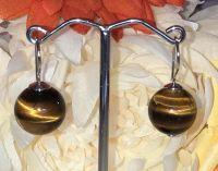 12mm  Tigers Eye Bead Earrings with 925 Sterling Silver Hook