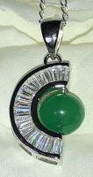 Half Moon Shaped Silver Pendant with Jade Ball and CZ Crystal