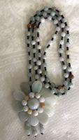 Jade Sunflower Pendant with Jade Bead Necklace