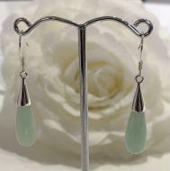 Jade Teardrop Earrings with 925 Sterling Silver Hook