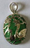 Pair of Birds, jade pendant with silver